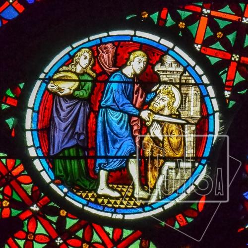 tekoaphotos,martyre,saint,jean-baptiste,décapitation,salomé,cathédrale,saint-jean,lyon,rosace,médaillon